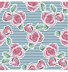 rose pink flower hand drawn strips pattern vector image