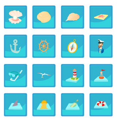 Sea icon blue app vector