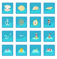sea icon blue app vector image