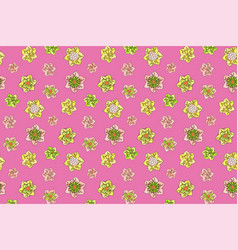seamless pattern with green and yellow flowers vector image