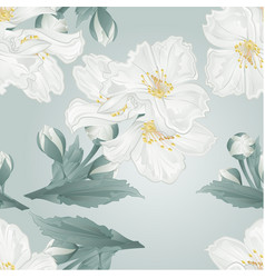 Seamless texture twig jasmine flowers and buds vector