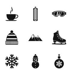 Season winter icons set simple style vector image