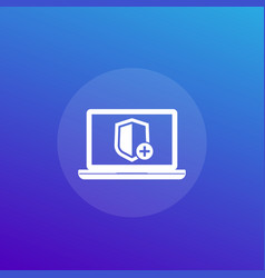 Security icon with add sign and laptop computer vector