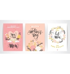 Set happy mothers day lettering greeting cards vector