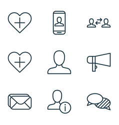 Set of 9 social icons includes privacy vector