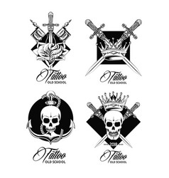 set of tattoo design emblems in black and white vector image