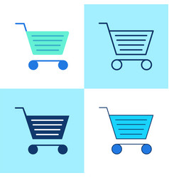 shopping cart icon set in flat and line style vector image