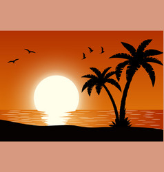 Silhouette palm tree on beach vector