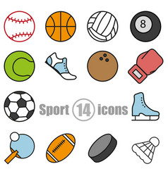 sport set of 14 icons in a flat style vector image