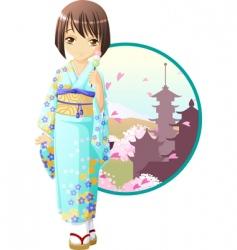 spring kimono girl vector image