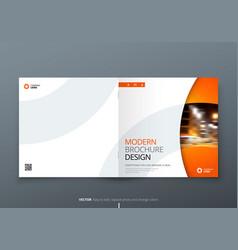 Square brochure design orange corporate business vector