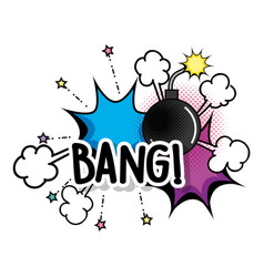 Stars with bang bomb explosion patch vector