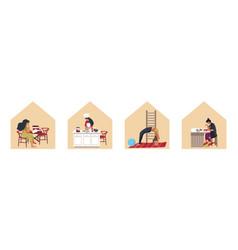 Stay home quarantine self-isolation cartoon vector