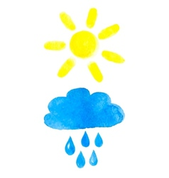 Sun and rainy cloud vector image