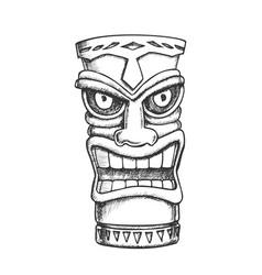 tiki idol carved wood statue monochrome vector image