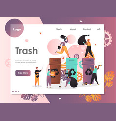 Trash website landing page design template vector