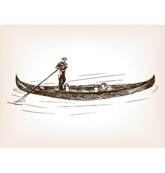 Venetian gondola cab hand drawn sketch vector