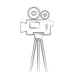 video camera icon amcorder movie film label vector image