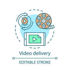 Video delivery concept icon vector