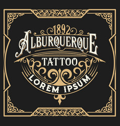 Vintage tattoo logo with floral frame vector