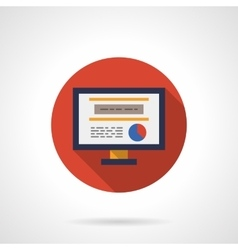 Web analytic icon round flat color icon vector