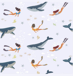 whales and girls vector image