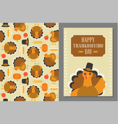 wild turkey seamless pattern vector image