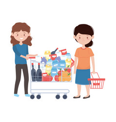 Women shopping with cart and basket design vector