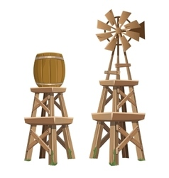 Wooden water tower and wind power plant vector