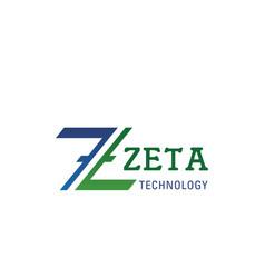 zeta technology letter z icon vector image