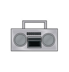 drawing stereo radio music play retro vector image vector image