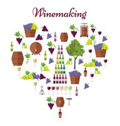 elite winemaking poster in heart shape vector image vector image