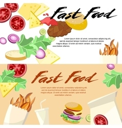 Fast Food concept banner flat style vector image vector image