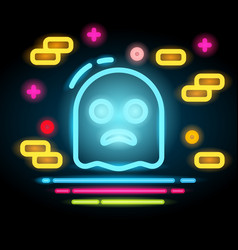 Halloween ghost icon neon electric vector