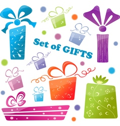 set of colorful gifts icons vector image vector image