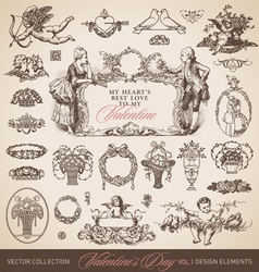 Antique valentines set vector