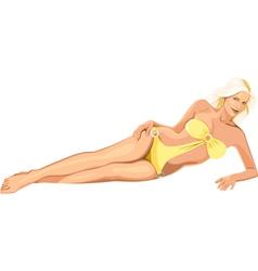 beautiful girl in yellow bikini vector image