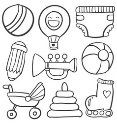 Doodle of object baby collection vector