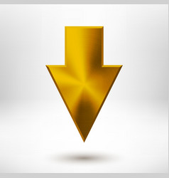 Down Arrow Sign with Gold Metal Texture vector image vector image