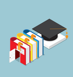 education concept books is door to success of vector image vector image