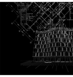 Black architectural background with building vector image