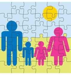 family puzzle vector image vector image