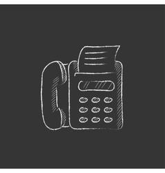 Fax machine drawn in chalk icon vector