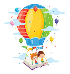 kids flying hot air balloon vector image