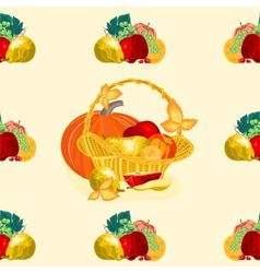 Seamless texture fruit basket vector image