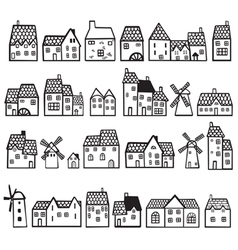 set painted houses vector image