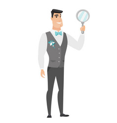 caucasian groom holding hand mirror vector image vector image