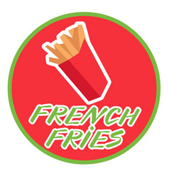 French fries in a box icon in flat style on a vector
