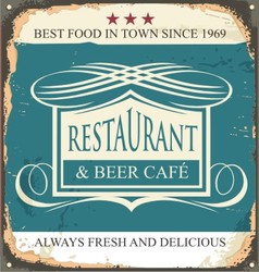 Retro tin sign for restaurant or beer cafe vector image vector image