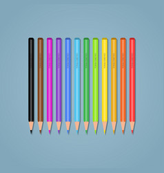 set of pencils on a blue background vector image